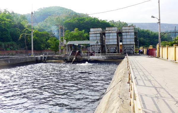 Nước thải từ moong khai thác được bơm lên hồ chứa rồi về trạm xử lý tập trung trước khi xả ra môi trường.
